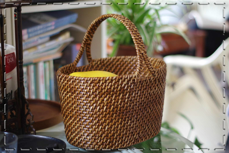å¿å­handmade bamboo and rattan woven rattan basket fruit basket storage basket picnic basket hand basket storage basket free shipping