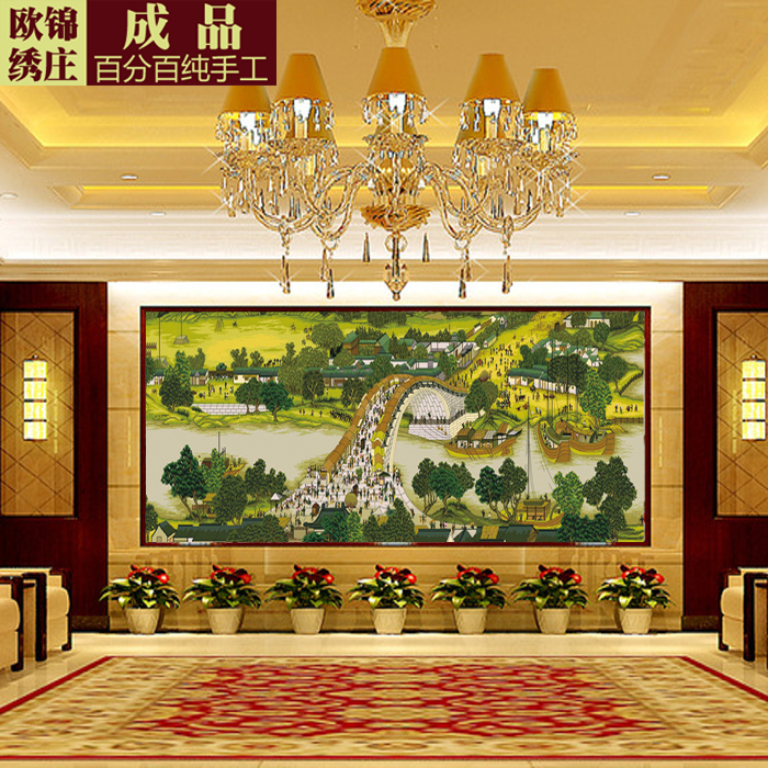 Handmade embroidery stitch finished living room landscape painting 2 m 2.5 m 3 m riverside panoramic iiç±³three metres