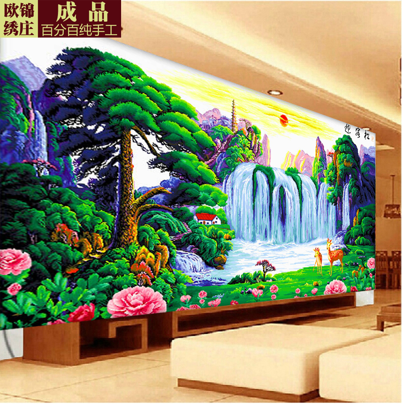 Handmade finished cross stitch substantial new living room landscape yingkesong rising sun embroidery 2 m