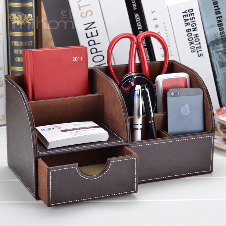 Hang fai grain brown leather office desktop storage box desk storage box creative modern korea stationery