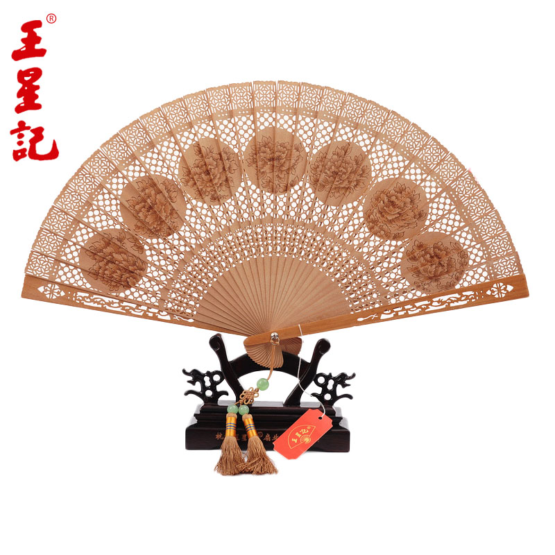 Hangzhou wangxingji fan laoshan sandalwood wind craft fan folding fan female fan with chinese characteristics gift