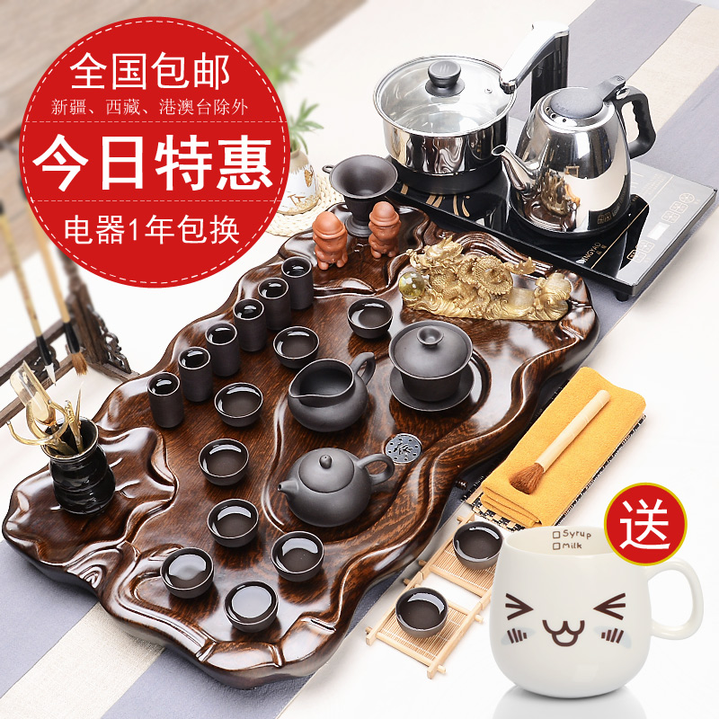 Hao feng ru glaze binglie entire wood tea tray tea kung fu tea yixing tea set four cooker