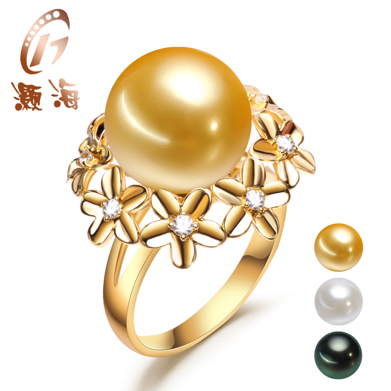 Hao hai jewelry g18k gold 13mm centimetres tengen round glare natural seawater pearl ring her mother