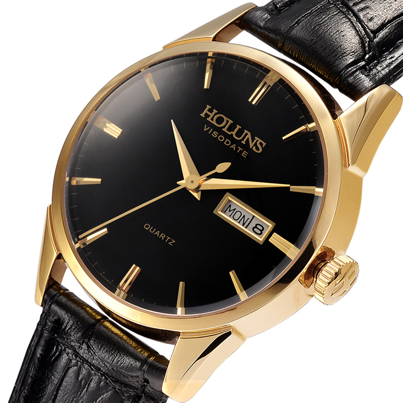 Hao lun poetry genuine watches men's fashion business belt male quartz watch waterproof dual calendar male table package