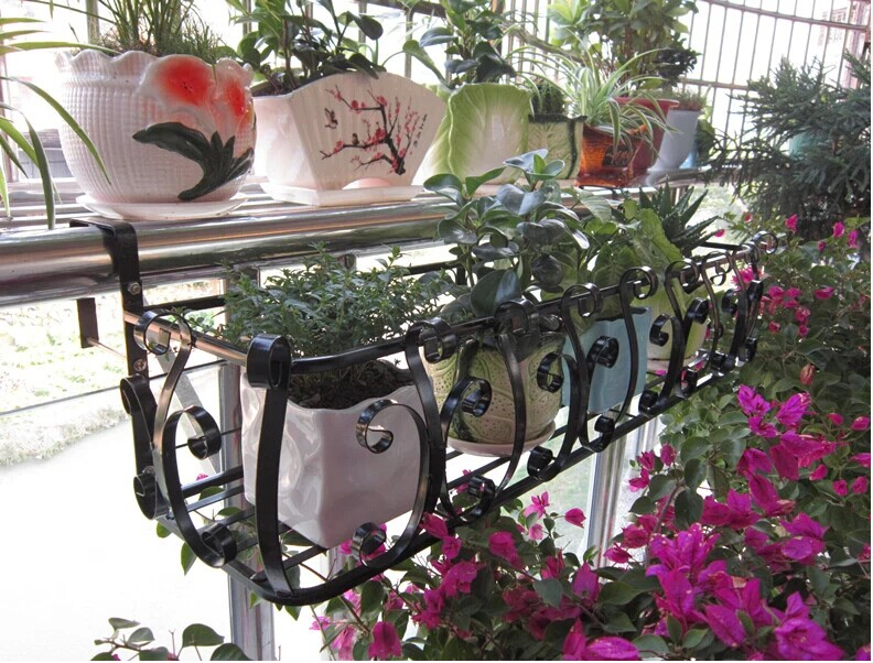 Happy home wrought iron railing fence flower hanging flower pot rack hanging balcony lengthened reinforcement