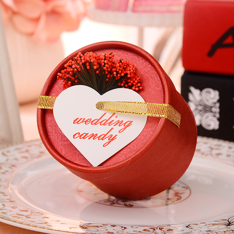 Happy tree cylinder creative wedding candy box gift box european lavender candy box candy box wedding supplies wedding candy box