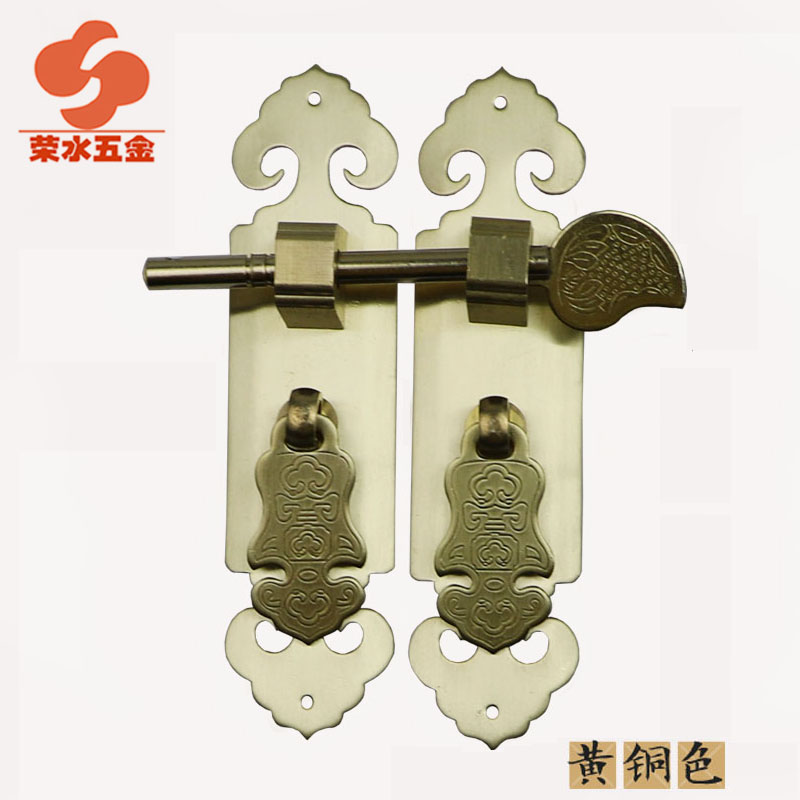 [Hardware] water wing ming and qing antique chinese furniture antique copper fittings copper door handle 3x12 cm f-126