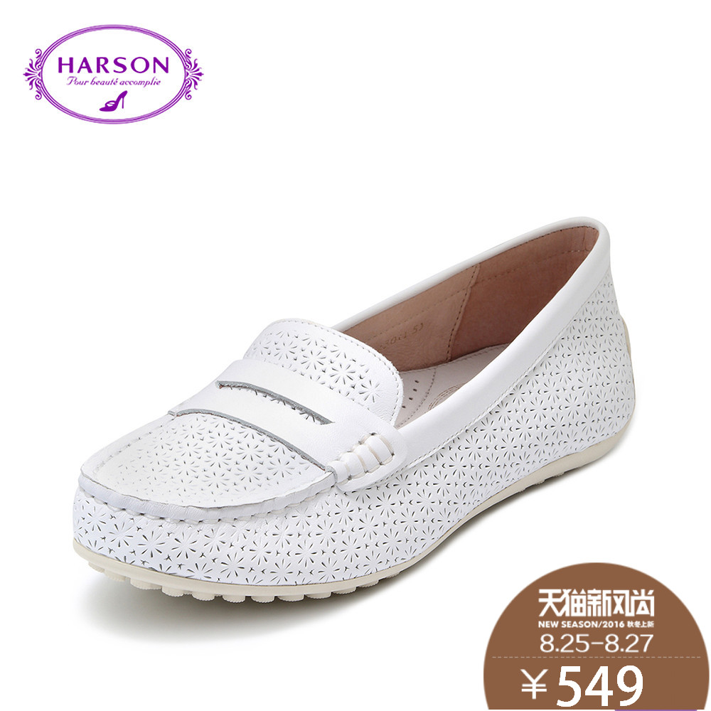 Hasson 2016 autumn new ladies casual round flat with peas shoes comfortable leather shoes HL65606