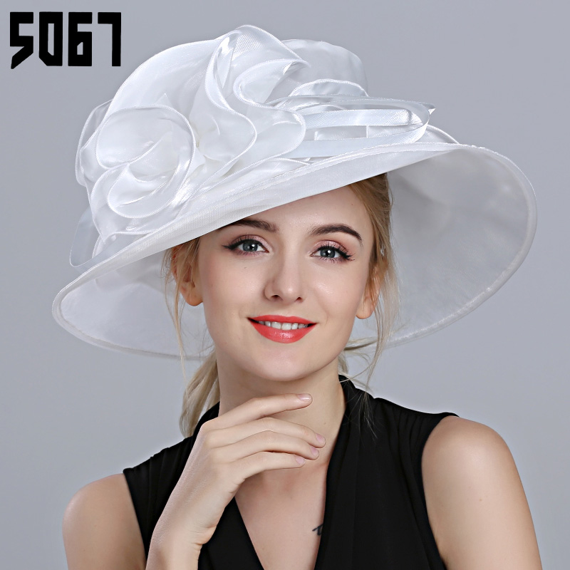 Hat female summer korean tidal summer hat british white flowers large brimmed hat sun hat lady fashion banquet