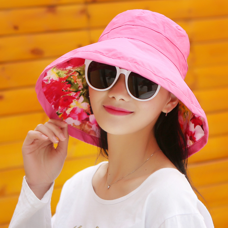 31d6f14ea2a Get Quotations · Hat female summer sun shade large brimmed hat folding  beach hat uv sun hat cycling cap