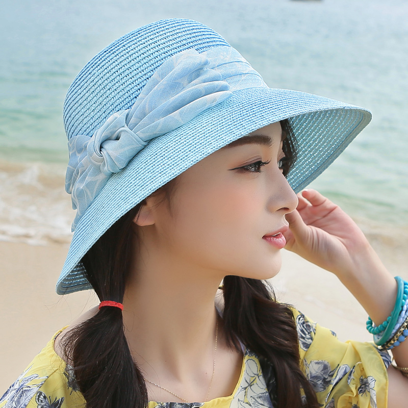 Hat korean female summer straw hat in spring and autumn bow visor hat sun hat beach hat large brimmed straw sun hat