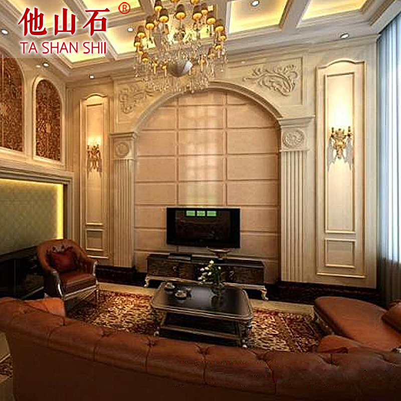 [He mountain stone] roman marble backdrop interior wall custom stone carving roman column backdrop