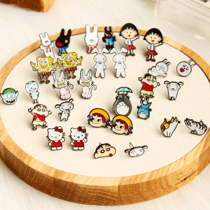 Headland cute japanese cartoon crayon chibi maruko cartoon chinchillas earrings earrings ear nail