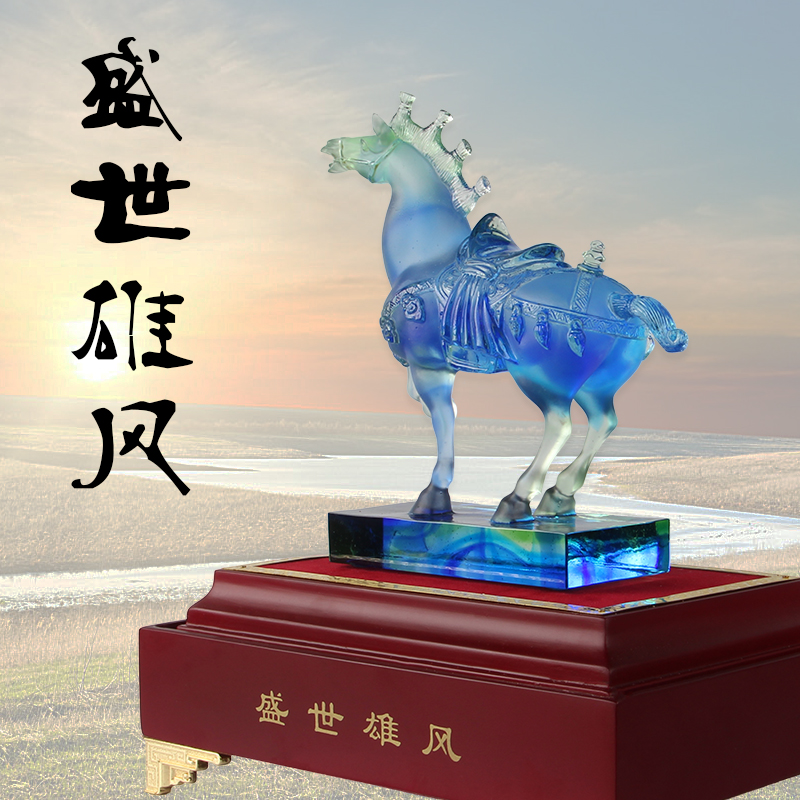 Healing glass zodiac horse ornaments crafts home decorations living room office feng shui ornaments business gifts