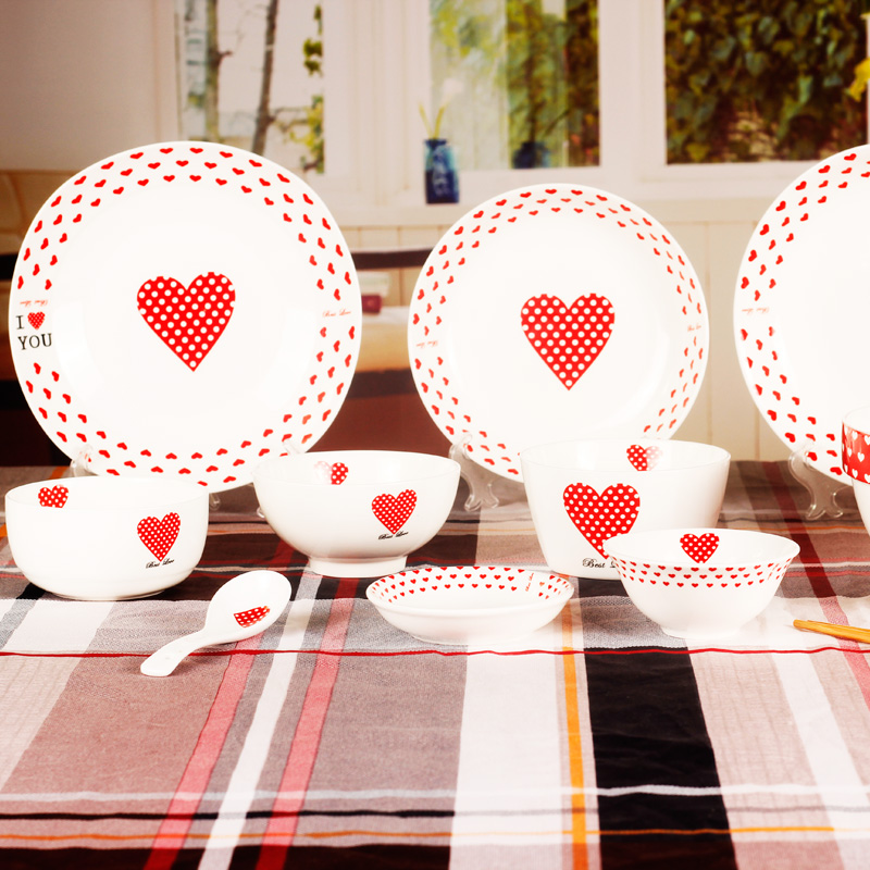 Hearts love wedding gifts ceramic tableware korean rice bowl rice dish side dish 8 inch 8 inch soup bowl ceramic tableware