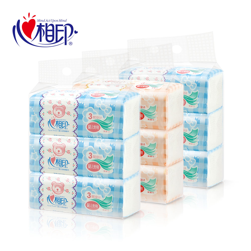 Hearttex pumping paper dt1120 special baby baby soft pumping paper towel washcloth home meal paper towel 3 layers 9 packs 3 mention