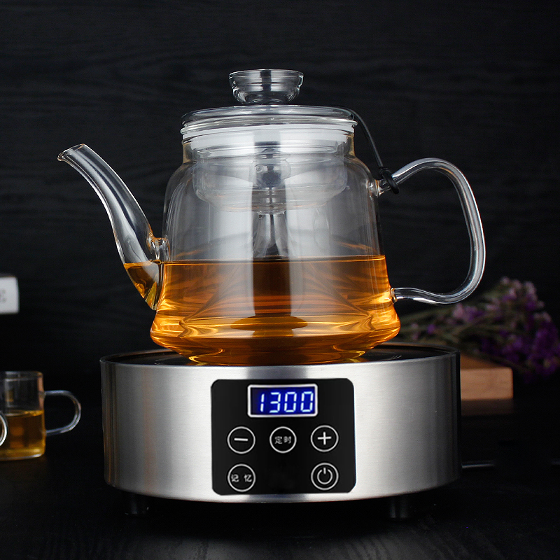 Heat resistant full glass steamed steamed cooked tea pu'er tea is black tea teapot health pot electric ceramic stove to boil water suit
