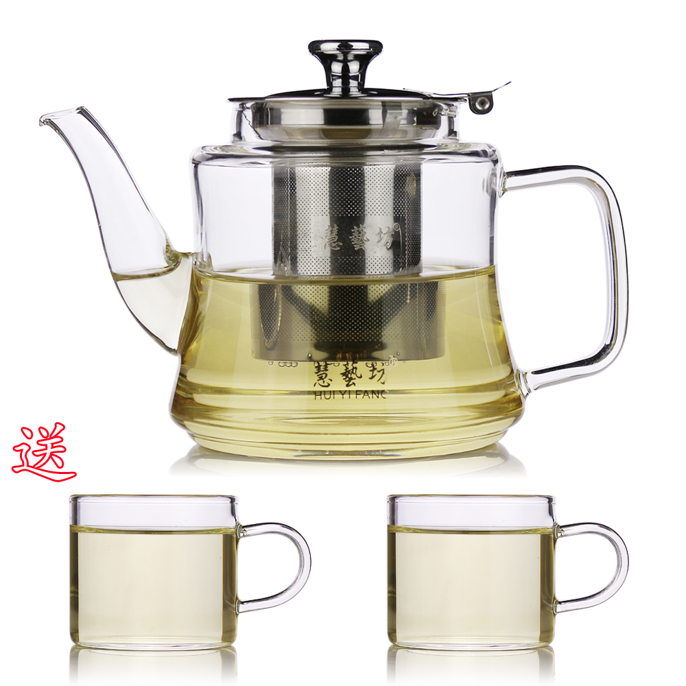 Heat resistant glass teapot with strainer teapot stainless steel liner flowers health pot tea pot