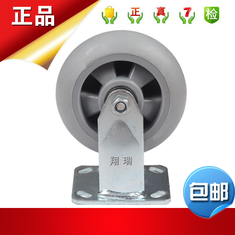 Heavier type full mute fixed wheel 4*2 rubber casters trolley wheels 4 inch tpr double bearing wear and wheel
