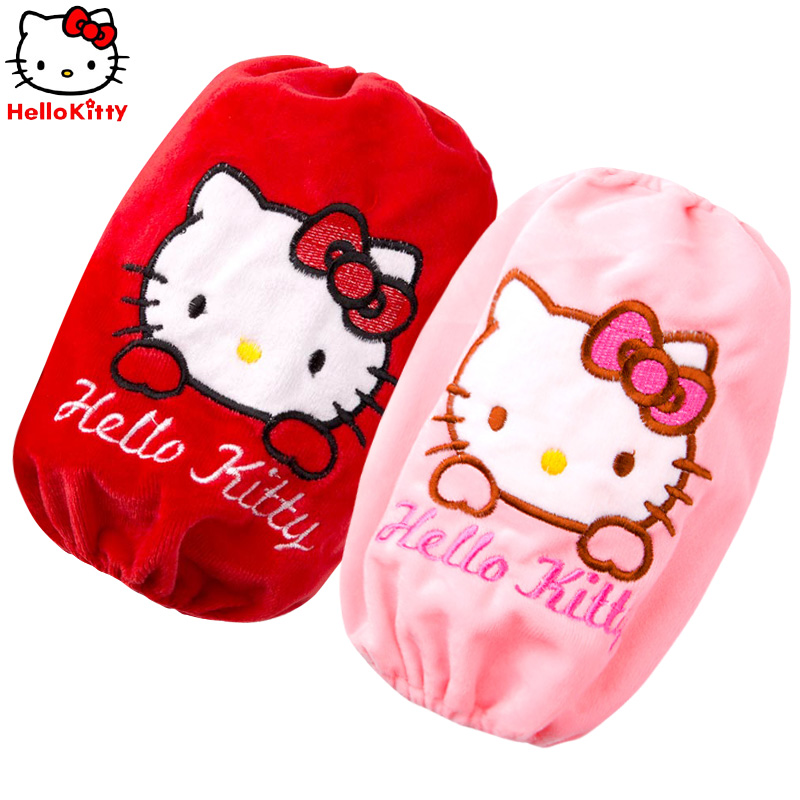 Hello kitty children waterproof cuff sleeves baby plush cuff sleeves short paragraph cuff winter card through sleeves
