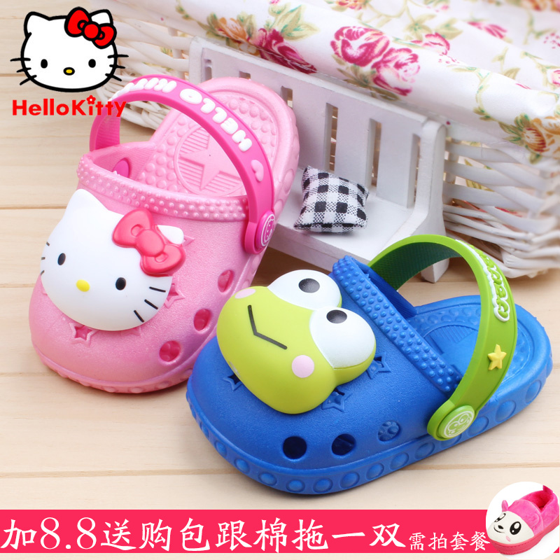 017e0de56 Get Quotations · Hello kitty children's summer sandals boys and girls  sandals hole shoes baby shoes flashing baby soft
