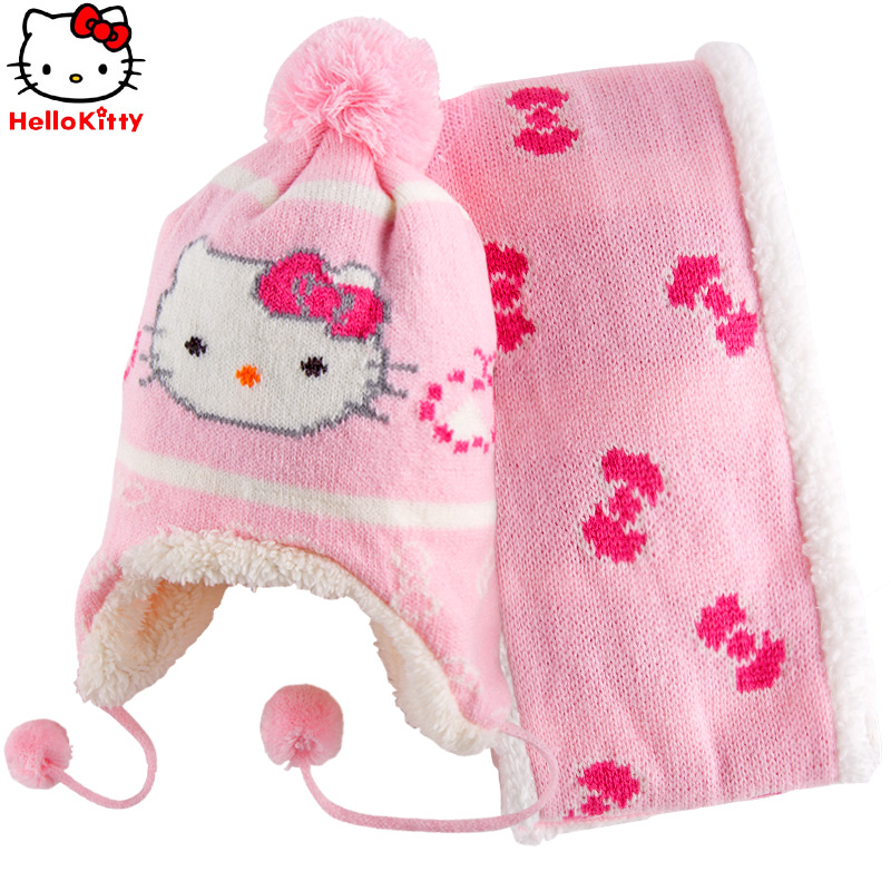 Hello kitty hat warm winter hat scarf suit girls comfortable and warm thick scarf scarf hat