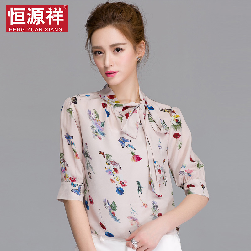 Heng yuan xiang 2016 spring and summer new korean version of casual ladies silk shirt silk shirt printing fifth sleeve