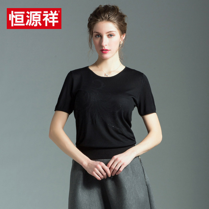 Heng yuan xiang middle-aged ladies summer tops including silkowrms ladieswear color round neck short sleeve t-shirt loose blouse