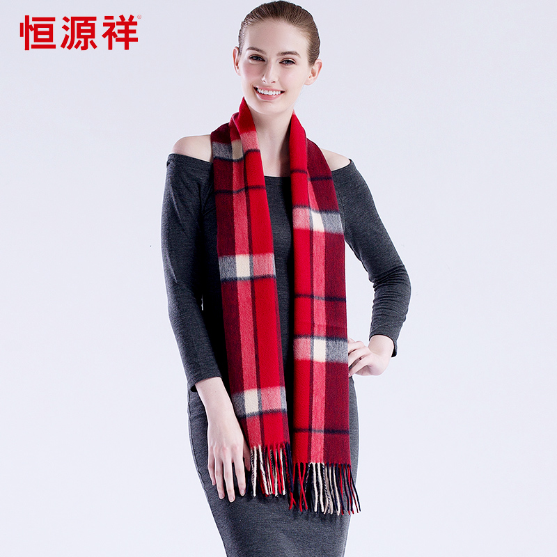Heng yuan xiang really thick plaid wool scarf shawl female autumn and winter in europe and america a long section plus thick warm scarf