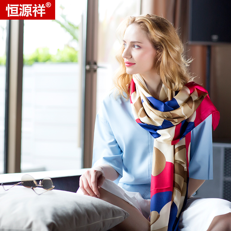 Heng yuan xiang spring upscale european and american chiffon silk scarf female summer long section of wild silk scarf shawl
