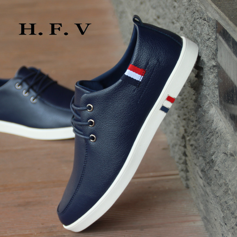 Hfv youth lace shoes fashion wild flat shoes shirr normally on 2016 simple casual men's autumn and 0620
