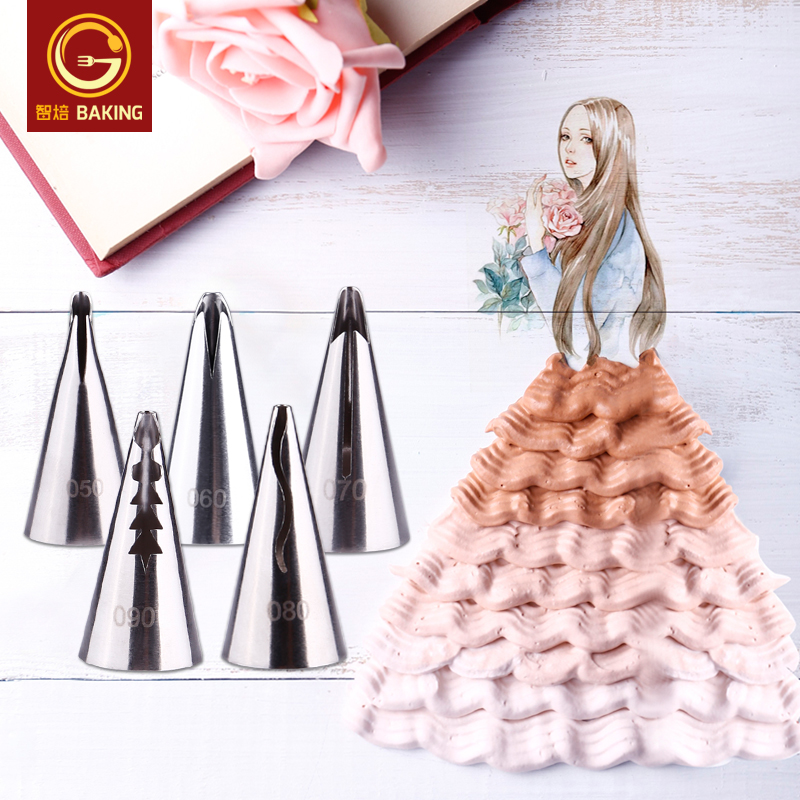 Hi bakeware baking barbie barbie skirt folds decorating mouth stainless steel pastry cake decorating mouth
