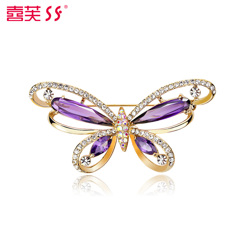 Hi fu accessorise synthetic crystal butterfly brooch scarf buckle pin buckle butterfly brooch jewelry brooch temperament hollow