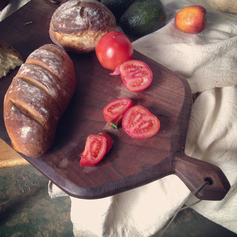 Hi hi red oak cutting board chopping wood chopping wood is ink handmade black walnut wood bread creative cutting board chopping fruit