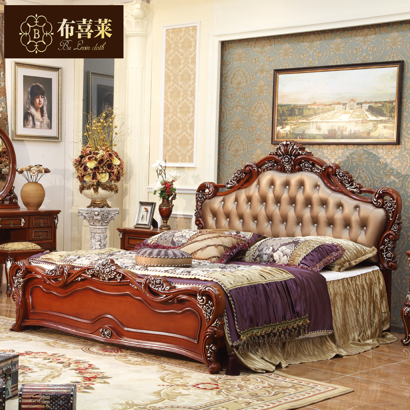 Hi levin cloth continental furniture bed wood bed 1.8 m american country oak bed marriage bed leather bed neoclassical