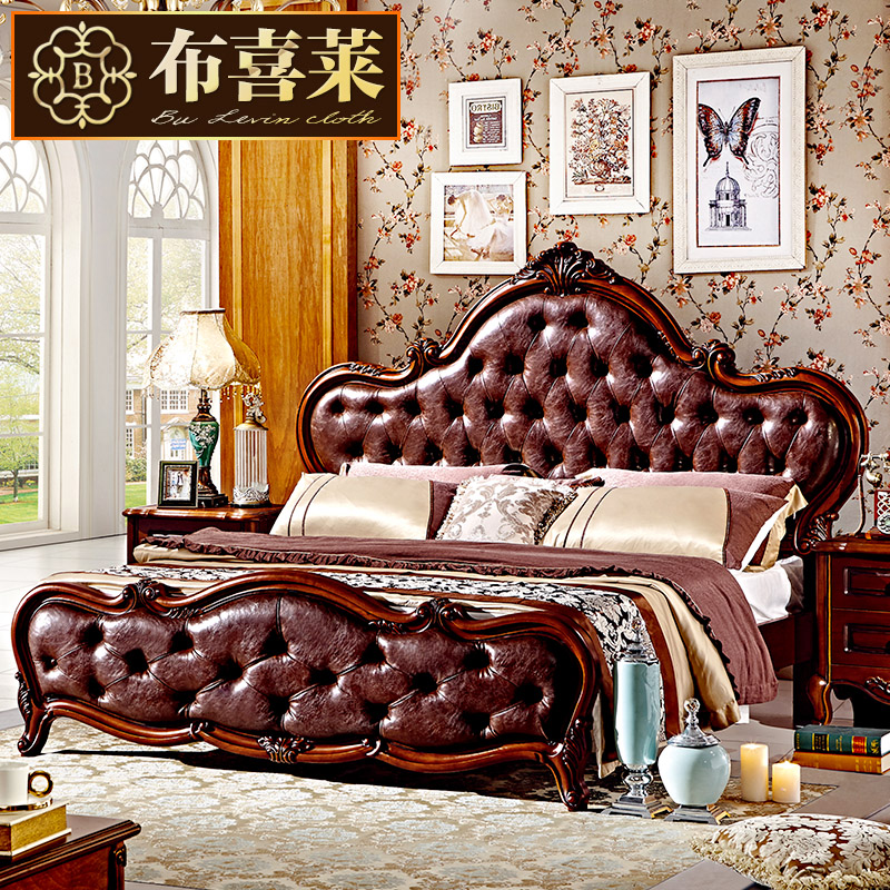 Hi levin cloth wood bed continental leather double bed american marriage bed bedroom furniture french bed 1.8 m oak bed