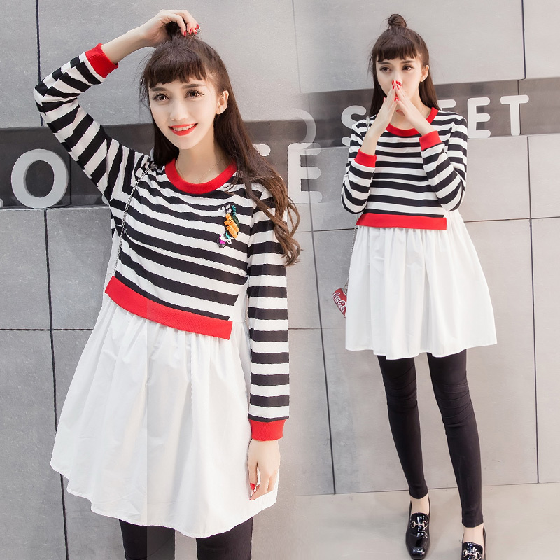 Hi pregnant pregnant us korean tidal mother pregnant women autumn fashion maternity pregnant women skirt striped dress for pregnant women long sleeve maternity dress