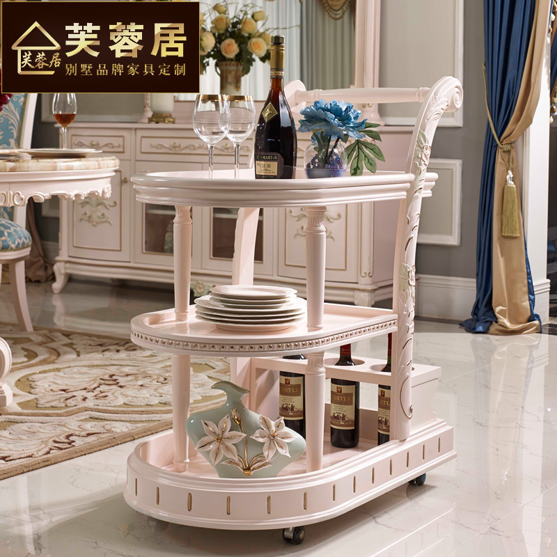 Hibiscus habitat upscale small french european solid wood dining car trolley car diner drinks trolley car delivery FP15 villa furniture