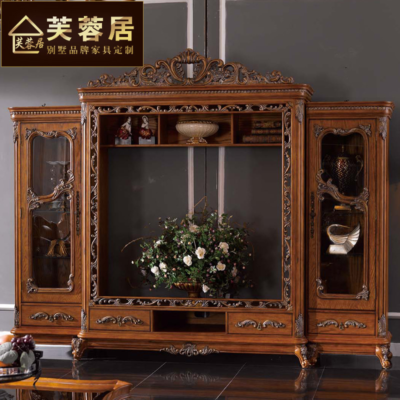 Hibiscus ranking american country backdrop tv cabinet combination audiovisual cabinet to do the old wood bookcase wall cabinets lockers