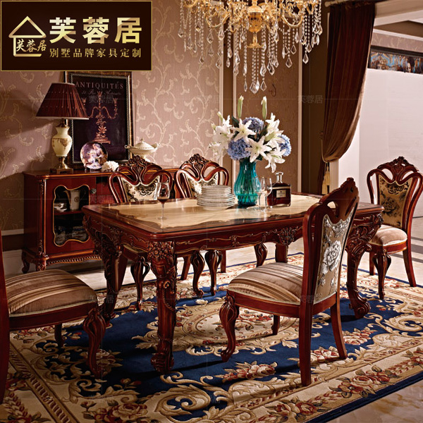 Hibiscus ranking american mosaic neoclassical european solid wood dining table carved french luxury villa custom furniture