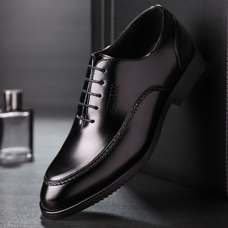 High holy men's fall men's leather shoes business casual shoes lace england summer breathable men's business suits