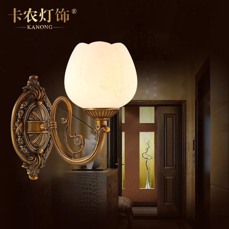 High imitation of natural marble wall lamp wall lamp european copper wall lamp wall lamp bedside lamp bedroom den wall lamp wall lamp mirror front lamps retro
