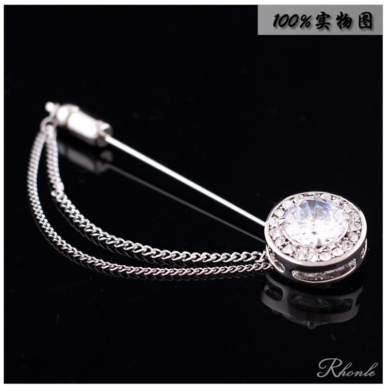 High quality men's new round white crystal rhinestone brooch ms. suit jacket dress corsage gift