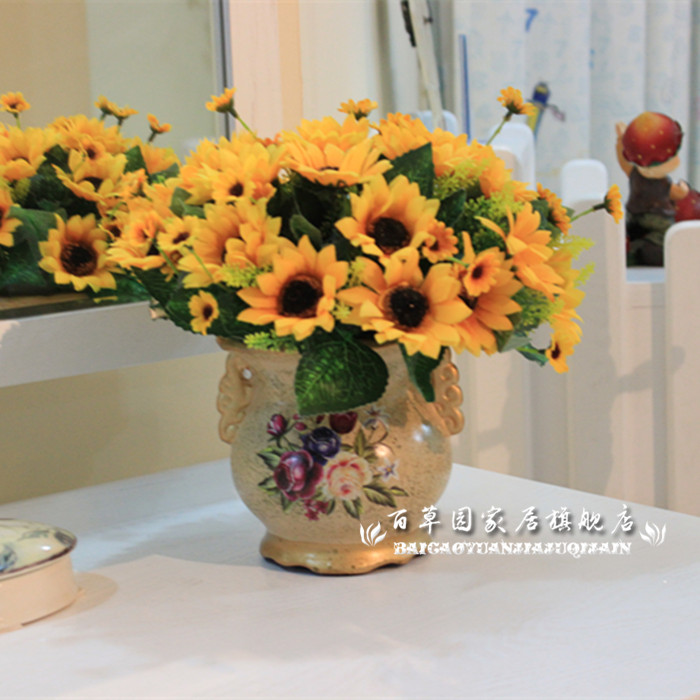 High simulation sunflower suit artificial flowers artificial flowers silk flower floral decorative floral garden sunflowers shipping