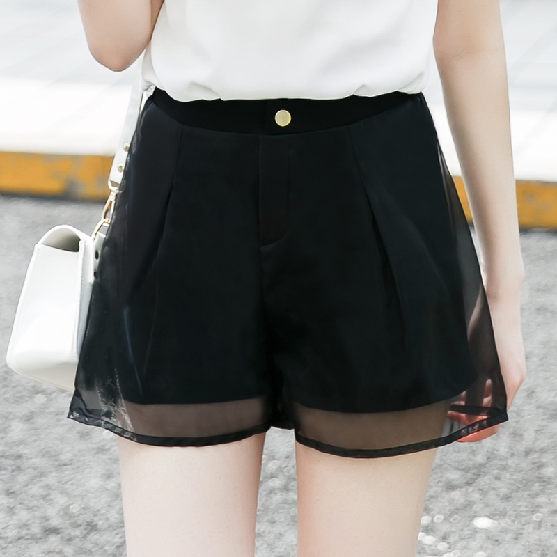 High waist shorts female summer was thin korean loose big yards wide leg shorts female organza a-line shorts thirds female