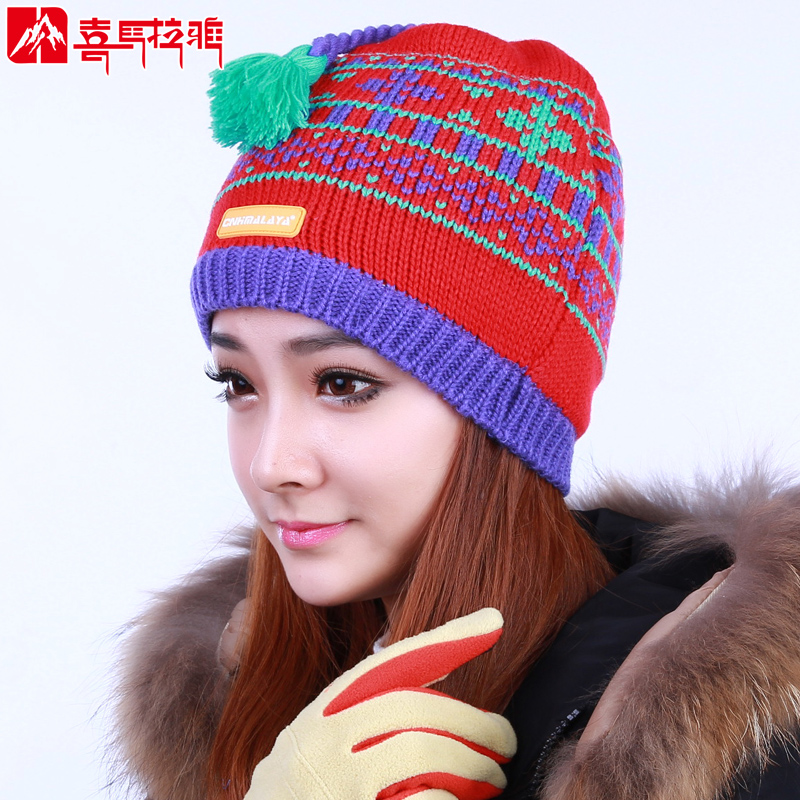 Himalaya' snowflake double thick knit hat warm autumn and winter outdoor men and women riding cold velvet lining