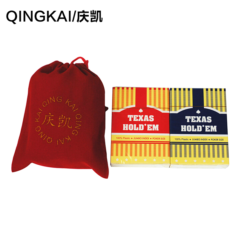 Hing kai characters frosted plastic poker baccarat texas hold'em table red and blue two pay flannel bags