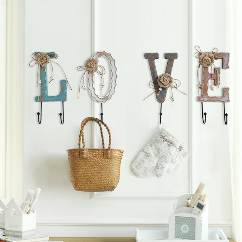 Home accessories american creative personality coat hooks wall coat rack wall coat hooks decorative wooden hooks
