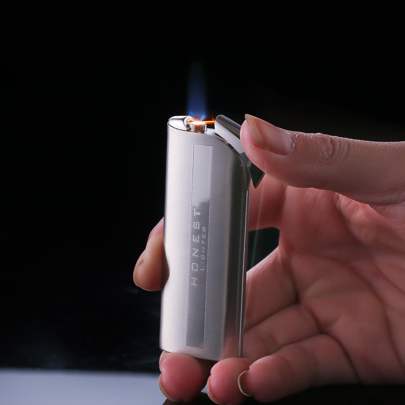 Honest brand creative personality slim metal lighter windproof lighter inflatable electronic cigarette men who
