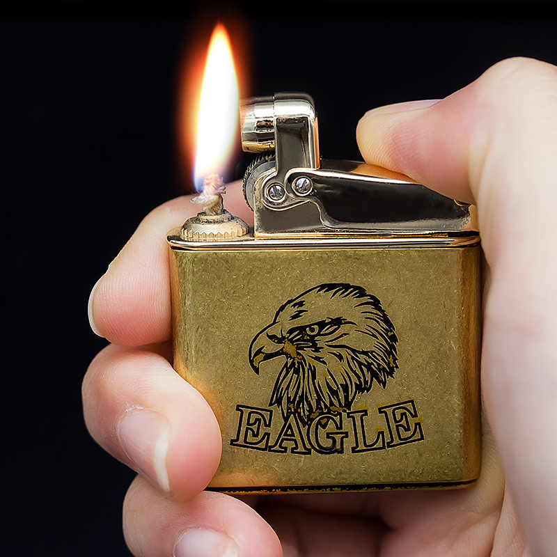 Honest genuine slim men's retro vintage kerosene lighter metal wheel lighter kerosene smoking gift